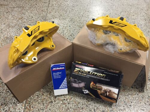 2009-13 Cadillac CTS-V Brembo Yellow 6 Piston Front Calipers pads Bolts pins