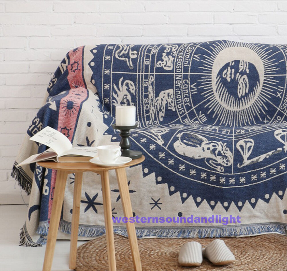 100% cotton Vintage European Fringed Blanket Tapestry Throw Sofa Chair Cover Mat