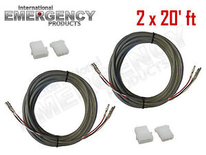 2x-20-039-ft-Strobe-Cable-3-Conductor-Wire-AMP-Power-Supply-w-Connector-for-Whelen