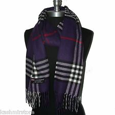 "New Fashion 100% Cashmere Scarf Purple Check Plaid Scotland Wool Wrap ""Bm04"""