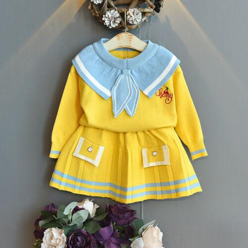 2021 New Kids Girls Sweater Tops+Skirt Autumn Winter Sweater Suit Skirt 2pcs Set