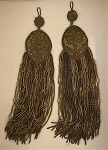 """Pair of 2 Antique French Gold Gilt Bullion Fringe Tassels Passementerie - 12"""""""
