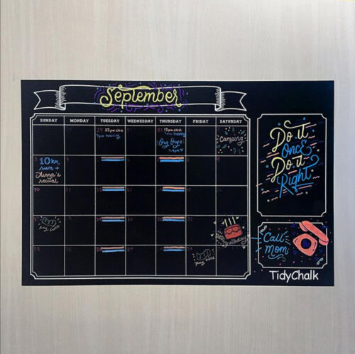 "With a FREE Marker By TidyChalk 24/""x36/"" Chalkboard Wall Calendar Modern Style"