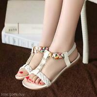 Women's Girl's Bohemian Summer Flat Heel Dichotomanthes Sole Wedge Sandals Shoes