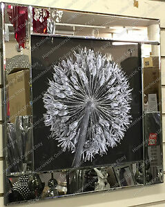 Black-amp-White-blossomed-flower-picture-with-liquid-art-amp-crystals-mirror-frame-B