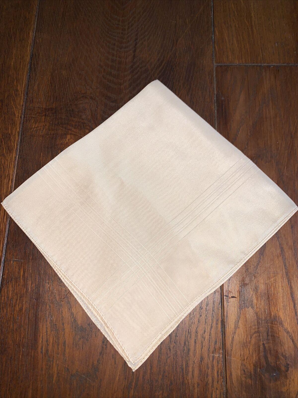Ivory Square Pocket Scarf BRAND NEW 100% English Silk 39cmx41cm Subtle Line