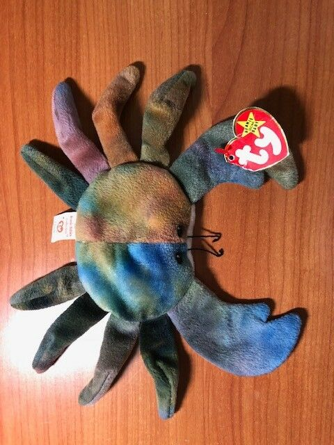 RARE TY Beanie Babies Collectable Plush CLAUDE The Crab W  Tag Errors