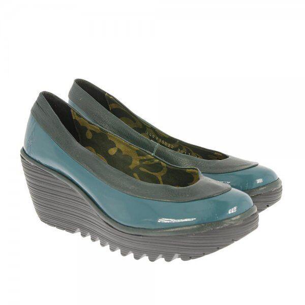 Fly London Yoko Verde Azulado Cuña con Plataforma De Cuero Patente Tribunal Zapatos EU40