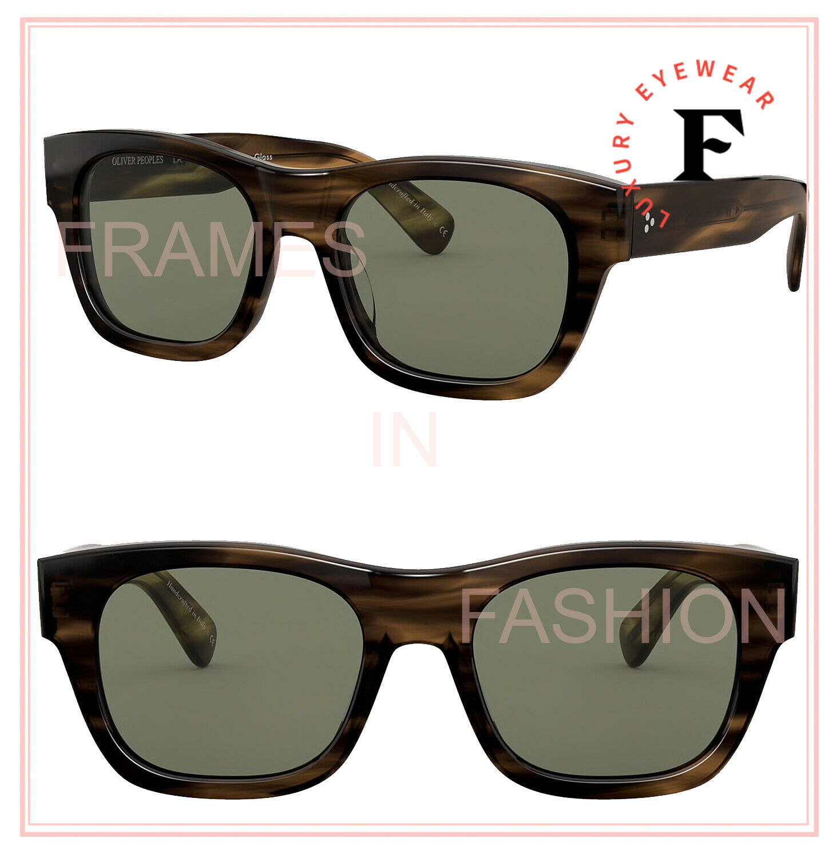 Oliver Peoples 5418 Keenan 54 Bark Green Square Glass Chunky Sunglasses OV5418SU