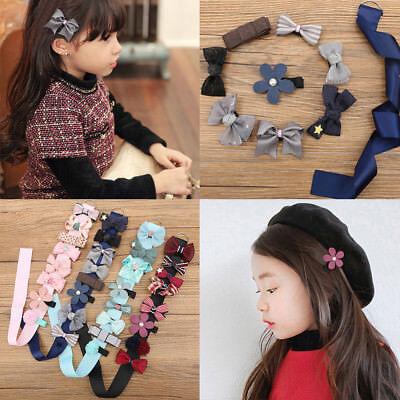 8PCS Kids Baby Girl Princess Hairpin Infant Bowknot Flowers Motifs Hair Clip Set