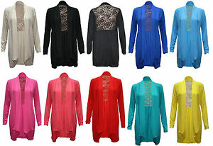 LADIES LONG SLEEVES FLORAL LACE BACK BOYFRIEND CARDIGAN WOMENS TOP JACKET 8-14