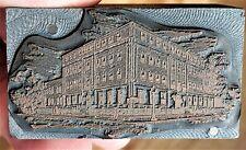 Vintage Copper On Wood Letterpress Print Block Ymca Building Street Scene Pb54