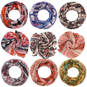 Schal-Loopschal-Rundschal-Halstuch-Tuch-Damen-Blumen-Paisley-Muster-mehrfarbig
