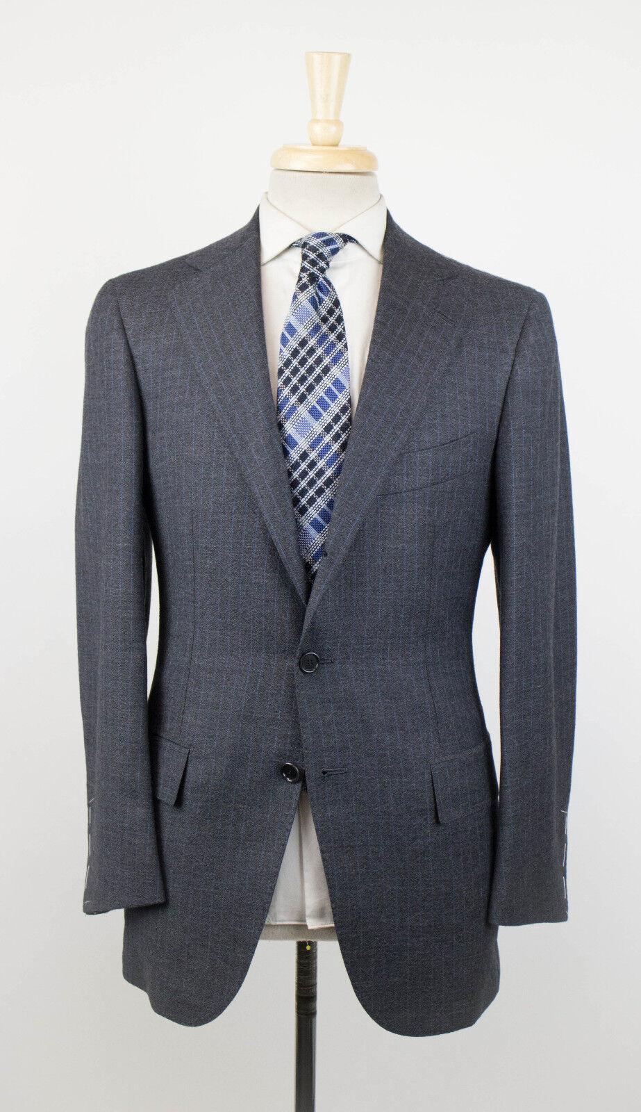 NWT CESARE ATTOLINI NAPOLI grau Striped Wool 3/2 Button Suit 46/36R Drop 7 5695