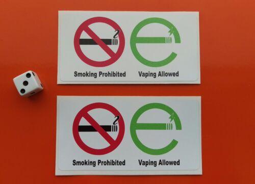 No smoking vapotage autorisé autocollants x 2 100mm x 50mm année 7-10 en vinyle imperméable