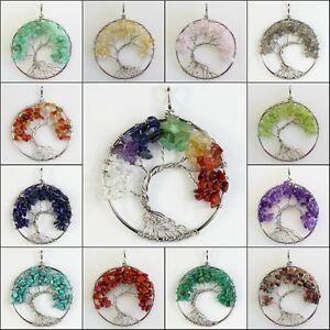 Natural-Amethyst-Labradorite-Peridot-Chip-Beads-Tree-of-Life-Silver-Pendant-50mm