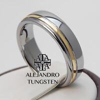 Tungsten Ring Wedding Bridal Band 6mm Original Gold Line Design Size 6 To 14