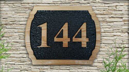 Personalized  3D Carved Home Number Wooden Oak Sign Address Plaque Outdoor