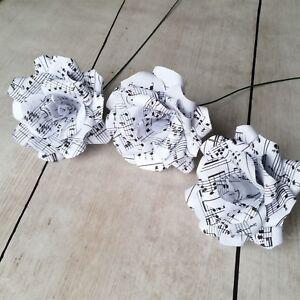 3 x sheet music paper flower roses handmade paper flowers ebay image is loading 3 x sheet music paper flower roses handmade mightylinksfo