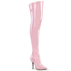 "Pleaser SEDUCE-3000 Baby Pink Patent 5"" Heel Plain Thigh Boot"