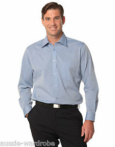 b50c368e13 NEW MENS FINE CHAMBRAY LONG SLEEVE BUSINESS CASUAL WORK DRESS MEN S ...