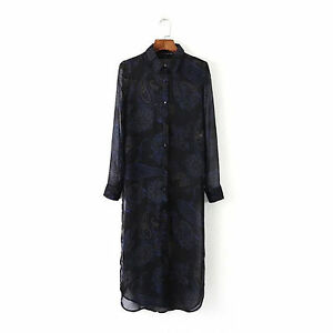 NEW Fashion Chic Women Lady Side Slit Black sheer Long sleeves Tunic Shirt Tops