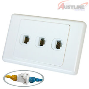 RJ45-Cat6-3Port-Wall-Plate-3Gang-Network-LAN-Coupler-F-FJack-cw3c6ff