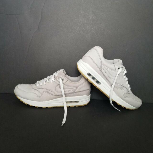 Nike Air Max 1 Leather Premium Ltr PRM Nubuck Medium Grey Neutral Gum 705282 005