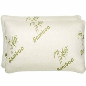 1-2-Pack-Bamboo-Comfort-Memory-Foam-Pillows-Hypoallergenic-Removable-Cover
