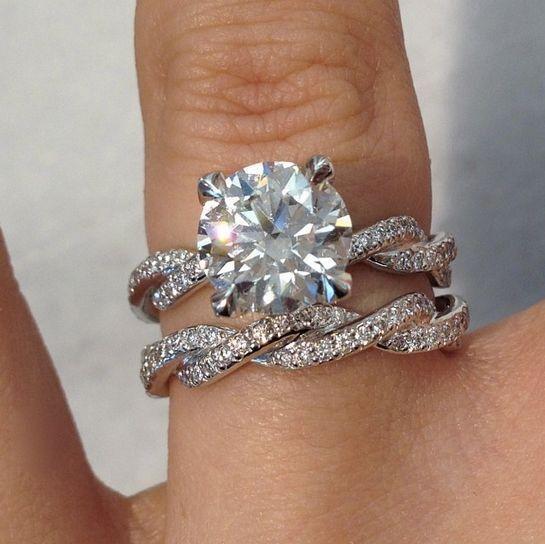 Certified 2.60Ct Round Moissanite Diamond Bridal Set Engagement Ring 14k W.gold