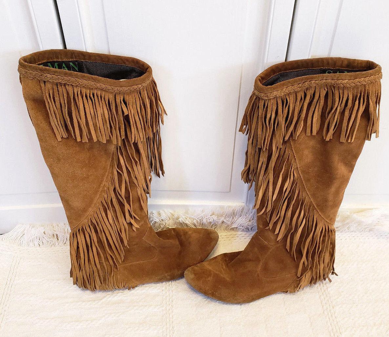 Sam Edelman  Utah  Fringed Moccasin Boots shoes Camel Suede Knee High Women's 8M