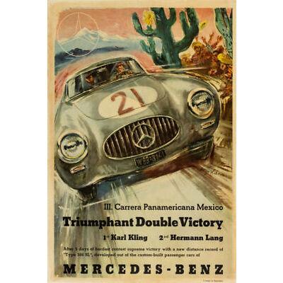 PLAQUE ALU DECO MERCEDES BENZ PANAMERICANA MEXICO RACE DOUBLE VICTORY 1952