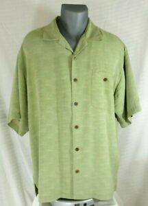 Tommy-Bahama-Mens-Solid-Green-100-Silk-Aloha-Hawaiian-Camp-Shirt-Size-Large