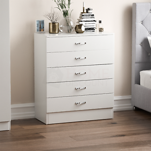 Riano-Chest-Of-Drawers-White-5-Drawer-Metal-Handles-Runners-Bedroom-Furniture
