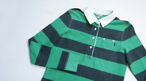 GANT-Rugby-shirt-women-Long-Sleeve-Polo-top-size-Medium-UK-10-EU-38-green-blue