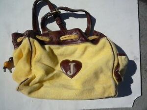 Juicy-Couture-brown-leather-yellow-velour-pocket-book-Ex-cosmetic-condition