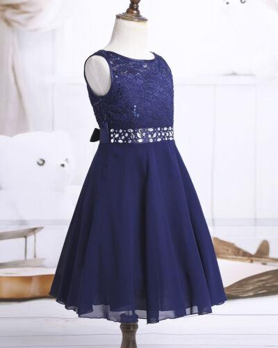 Kids Flower Girls Dress Sequin Princess Pageant Wedding Bridesmaid Chiffon Gown