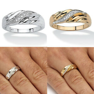 18K-Yellow-Gold-Male-Crystal-Diamond-Twisted-Band-Ring-Promise-Ring-Charm