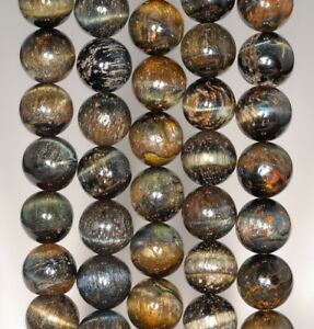 16MM BLUE TIGER EYE GEMSTONE HAWK EYE GRADE A ROUND LOOSE BEADS 7.5/""