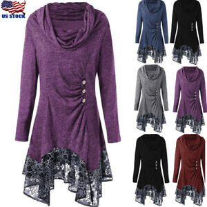 Women-039-s-Asymmetrical-Lace-Long-Sleeve-Cowl-Neck-Tunic-Swing-Dress-Top-Turtleneck