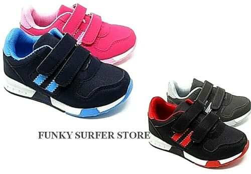 CHILDRENS BOYS GIRLS KIDS CASUAL EASY FASTEN SPORT RUNNING TRAINERS SCHOOL SHOES