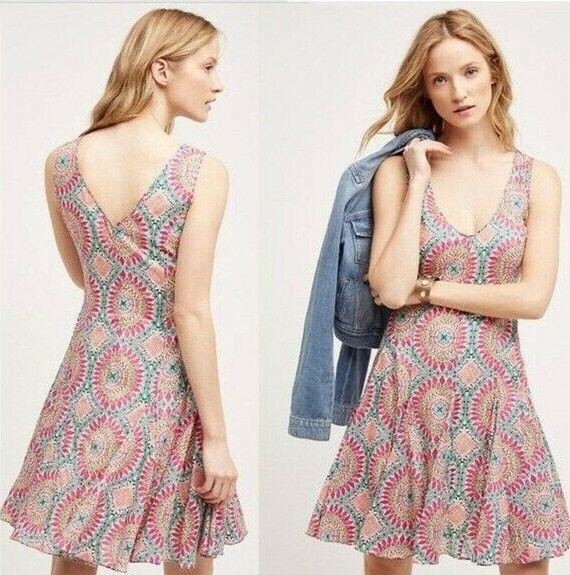 HD in Paris Sz 6  South Island Dress  Fit and Flare Rosa Grün Orange