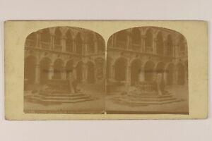 Italia-Venezia-Pozzo-Da-La-Cortile-Palais-Ducale-c1865-Foto-Stereo-Albumina
