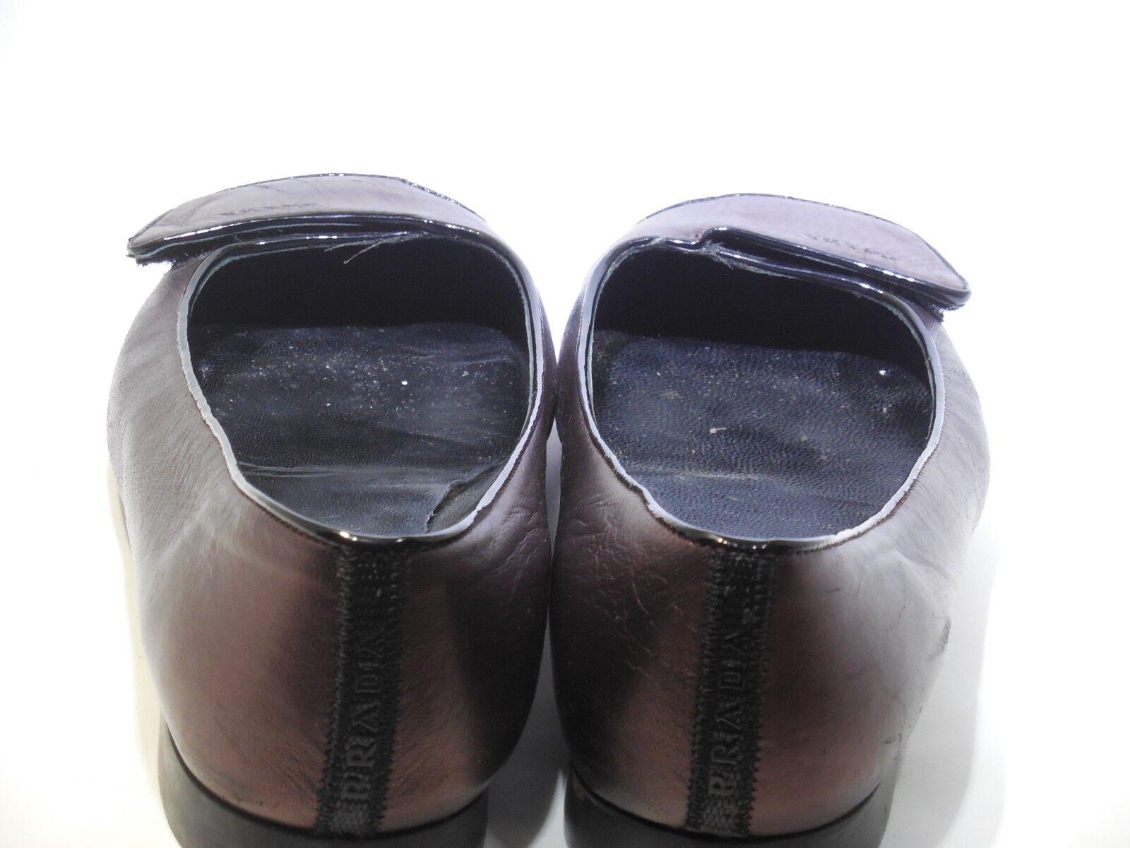 PRADA Sport Metallic Purple Black Patent Leather Flat shoes shoes shoes Velcro Flap Closure fc6e42