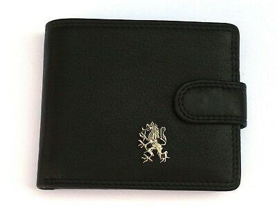 Genial Rampant Lion Mens Leather Wallet Black Or Brown Scottish Gift 294