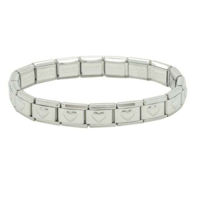 b7feffdbaaf5d Italian Charm 18 Link Shiny Starter Base Bracelet Stainless Steel Size 9mm