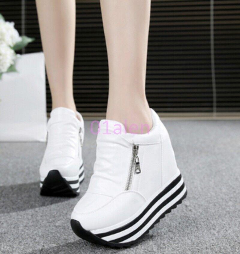 Womens Leisure Platform High Wedge Heels Lace up Trainers Zip Sport Sneakers Hot