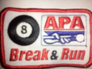 PATCHES AMERICAN POOLPLAYERS 8BALL APA RACKLESS PATCH OLDER VERSION