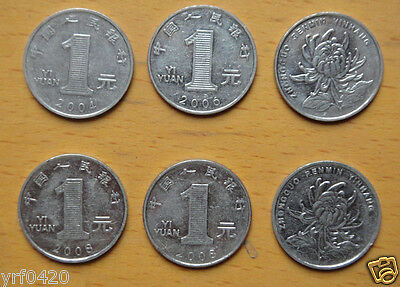 6 Pieces Used #2 1 Dollar China Coins 1 Yuan