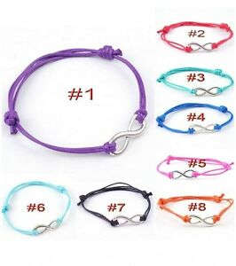 Antique-Silver-INFINITY-Colored-Cotton-Waxed-Cord-Friendship-Love-Wish-Bracelet